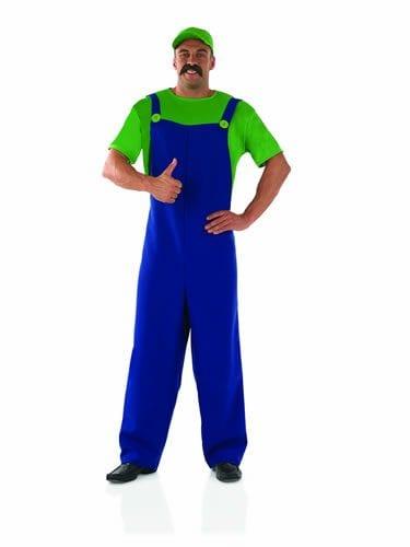 Plumber's Mate Green/Blue (Luigi) Mens Fancy Dress Costume