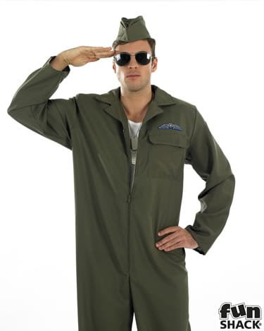 Aviator Khaki Mens Fancy Dress Costume