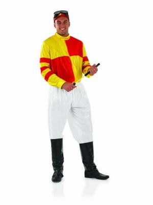 Jockey (Red/Yellow) Mens Fancy Dress Costume