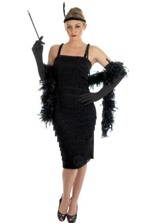 Roarin 20's Black Flapper Dress Ladies Fancy Dress Costume