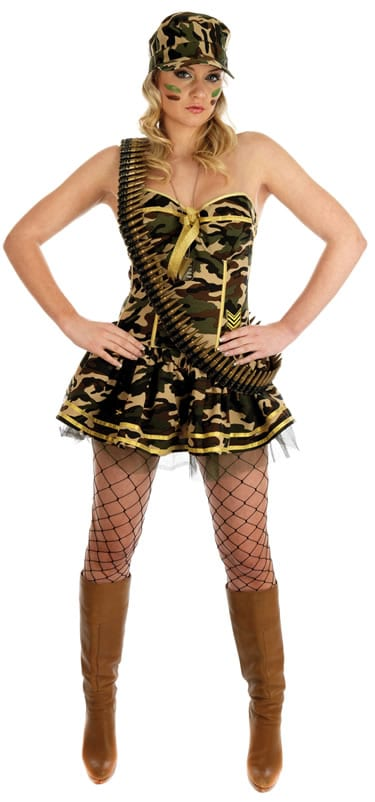 Commando Girl Ladies Fancy Dress Costume