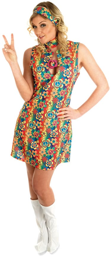 UV Print Hippie Ladies Fancy Dress Costume (DISC)