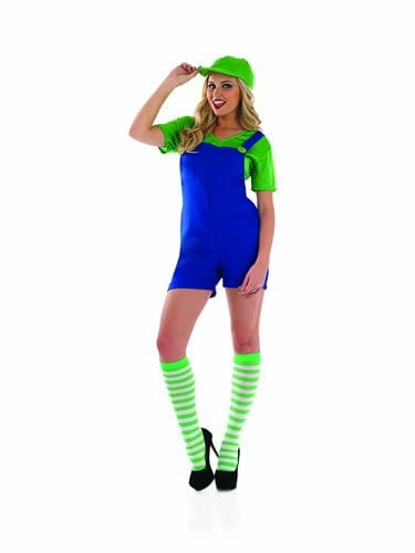 Plumbers Mate (Luigi) Ladies Fancy Dress Costume