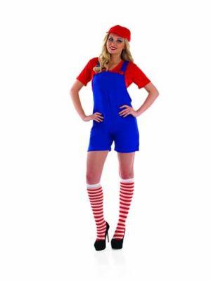 Plumbers Mate (Mario) Ladies Fancy Dress Costume