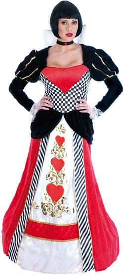 Queen of Hearts Long Dress Ladies Fancy Dress Costume