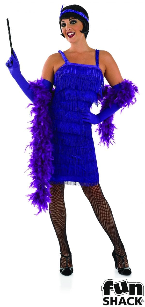 Roarin 20's Purple Flapper Dress Ladies Fancy Dress Costume