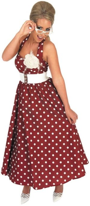 50's Red Day Dress Ladies Fancy Dress Costume (DISC)