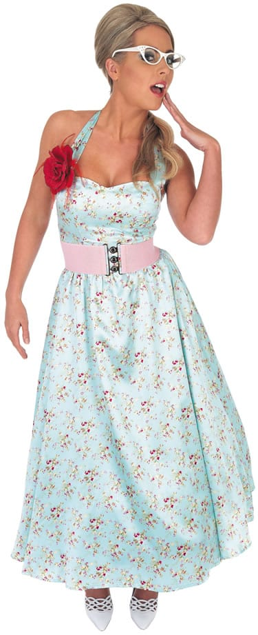 50's Blue Print Day Dress Ladies Fancy Dress Costume (DISC)