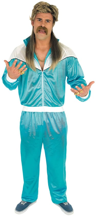 80's Blue Shell Suit Men's Fancy Dress Costume