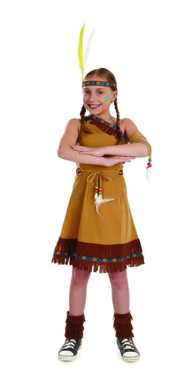 Indian Squaw Girl Childrens Fancy Dress Costume-0