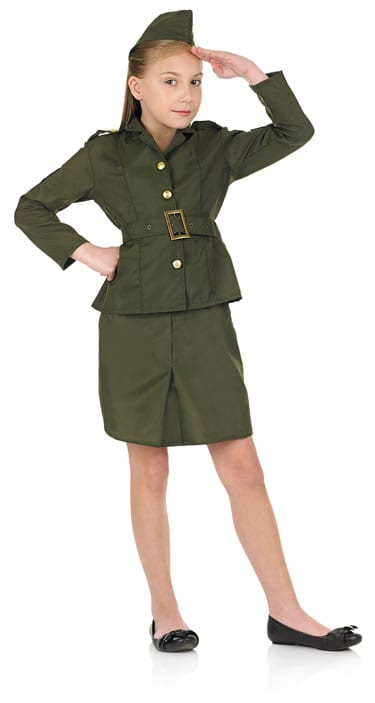 WW2 Army Girl Children's Fancy Dress Costume