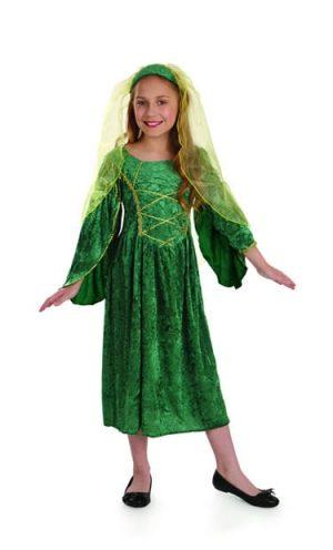 Tudor Princess Green Children's Fancy Dress Costume