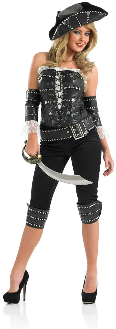 Black Pirate Ship Mate Ladies Fancy Dress Costume