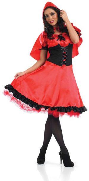 Red Riding Hood Longer Length Ladies Fancy Dress Costume