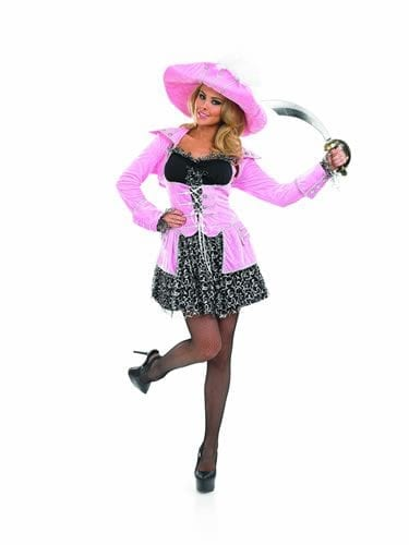 Pink Glitzy Pirate Ladies Fancy Dress Costume