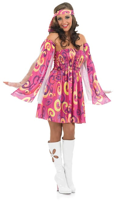 60'S Swirl Dress Ladies Fancy Dress Costume