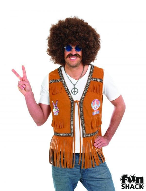 Hippie Fringed Waistcoat Men's Fancy Dress Costume
