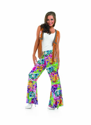 Hippie Patterned Flares Ladies Fancy Dress Costume