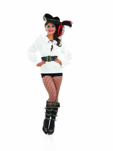 White Ruffled Pirate Shirt Ladies Fancy Dress Costume