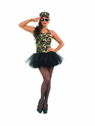 Commando Tutu Girl Ladies Fancy Dress Costume