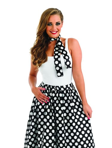 1950's Black/White Rock n Roll Skirt Ladies Fancy Dress Costume