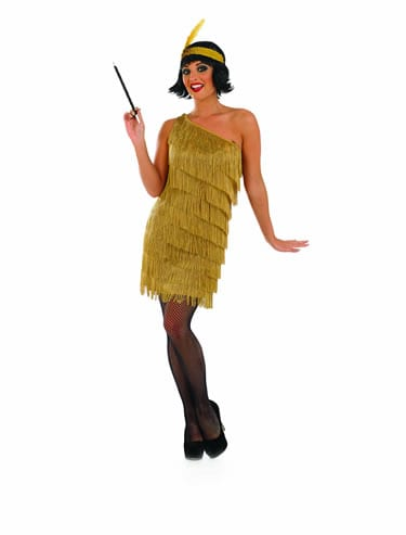 Gold Flapper Dress Ladies Fancy Dress Costume