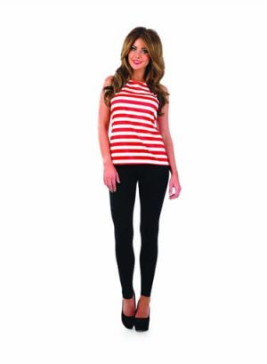 Wally Red/White Striped Top Ladies Fancy Dress Costume