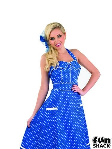 1950's Blue Day Dress Ladies Fancy Dress Costume