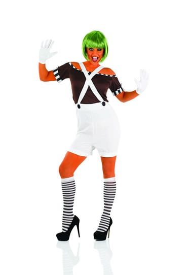 Sexy Factory (Umpa Lumpa) Worker with Wig Ladies Fancy Dress Costume