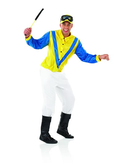 Jockey (Blue/Yellow) Men's Fancy Dress Costume