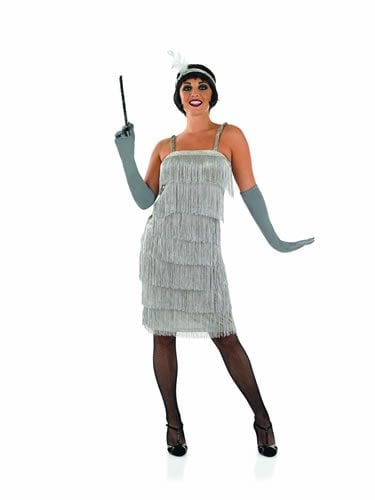 Roarin 20's Silver Flapper Dress Ladies Fancy Dress Costume