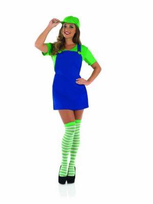 Sexy Plumbers Mate Green (Luigi) Ladies Fancy Dress Costume