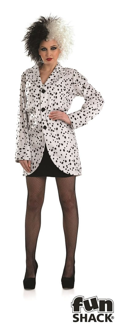 Dalmation Jacket (Cruella ) Ladies Fancy Dress Costume