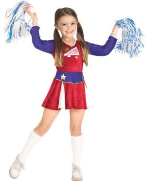 Cheerleader Girl's Children's Fancy Dress Costume