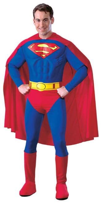 Superman Muscle Chest Super Hero Mens Fancy Dress Costume
