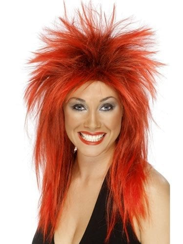 Tina Turner Style Red/ Black Wig.