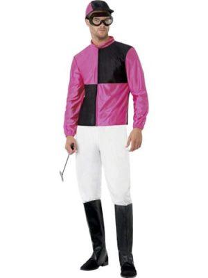 Jockey (Pink/Black) Men's Fancy Dress Costume
