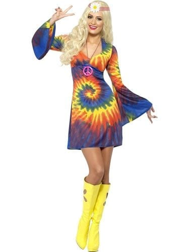 1960's Tie Dye Ladies Fancy Dress Costume