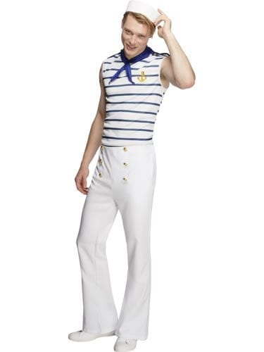 Fever Collection French Sailor Mens Fancy Dress Costume