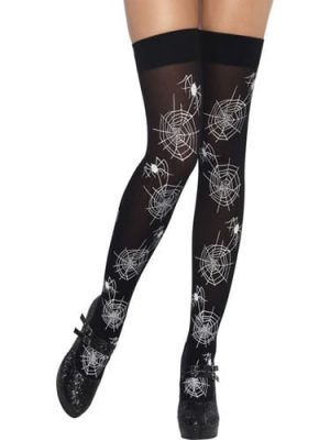 Spiderweb Glo in the Dark Thigh High Stockings