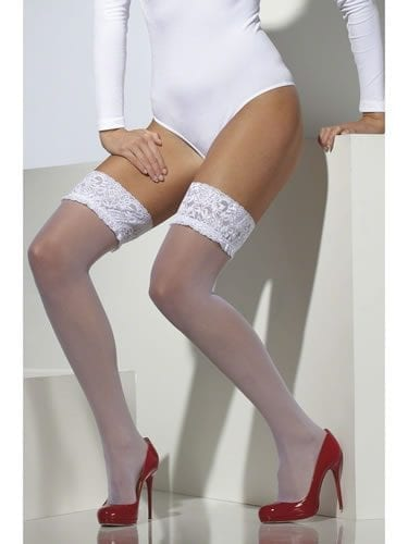 White Sheer Hold Up Stockings with Lace Tops