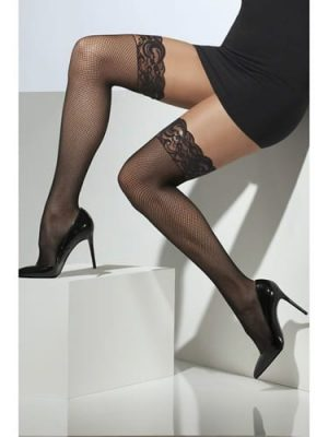 Black Fishnet Hold Up Stockings with Lace Tops