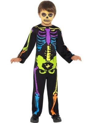 Punky Multi-Neon Skeleton Boy Childrens Halloween Fancy Dress Costume