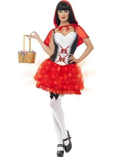 Red Riding Hood Lite Up Ladies Fancy Dress Costume