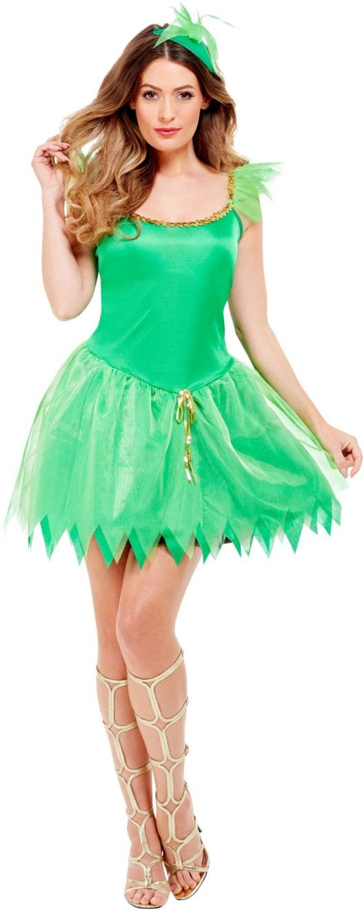 Green Woodland Fairy Ladies Fancy Dress Costume