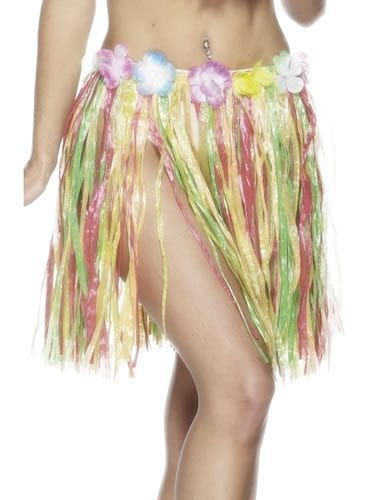 Hula Skirt Multi Short with Flowers