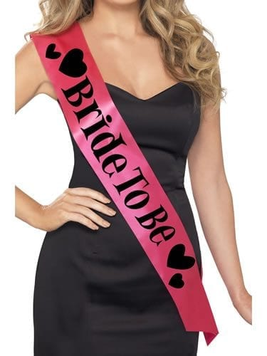 Pink Bride to Be Sash with Black Lettering