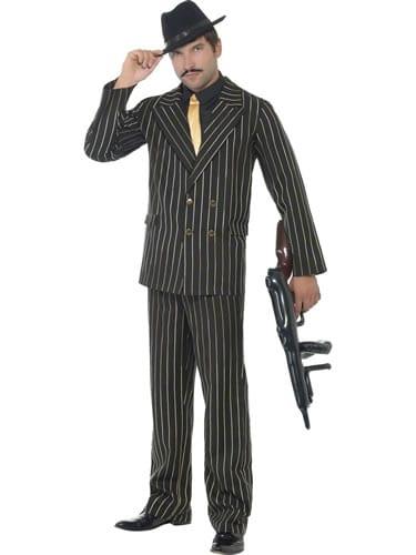 Gold Pinstripe Gangster Men's Fancy Dress Costume