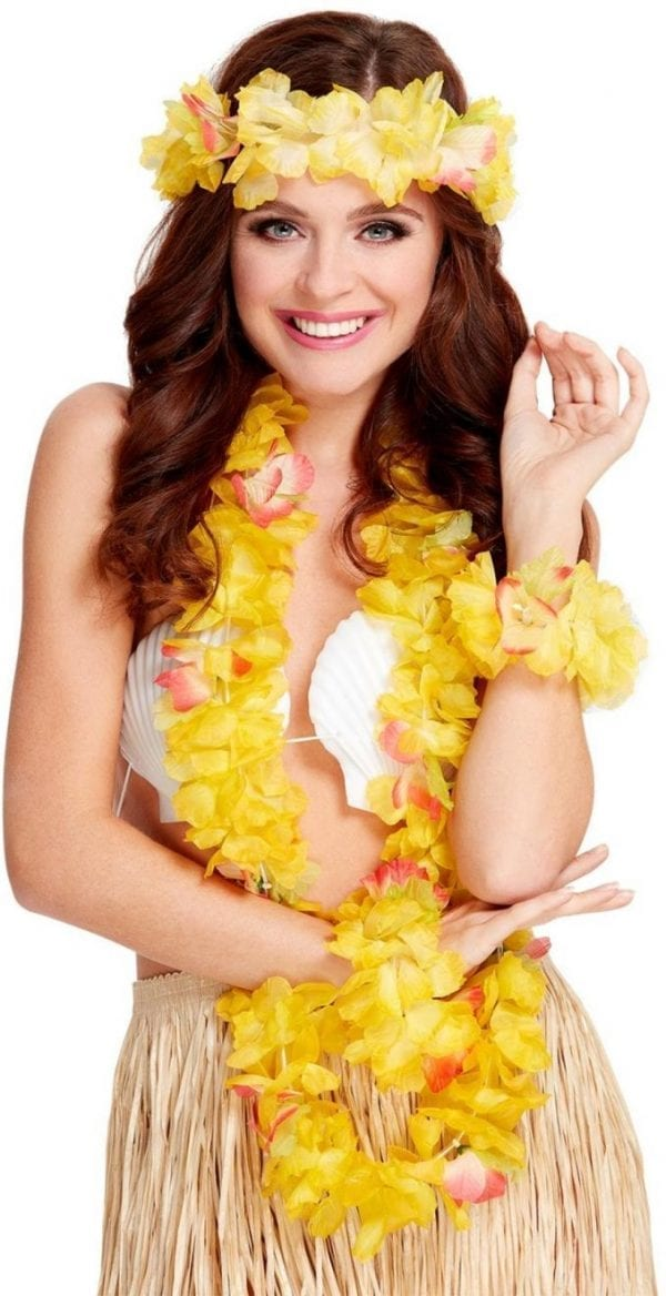 Hawaiian 4-Piece Yellow Lei Set