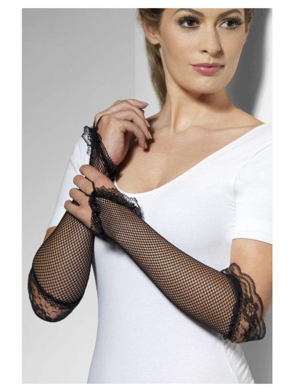 Black Fishnet Fingerless Gloves-0